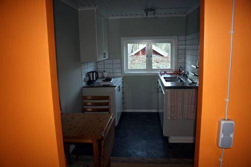 Die Küche aus der Perspektive des Wohn-/Schlafzimmers